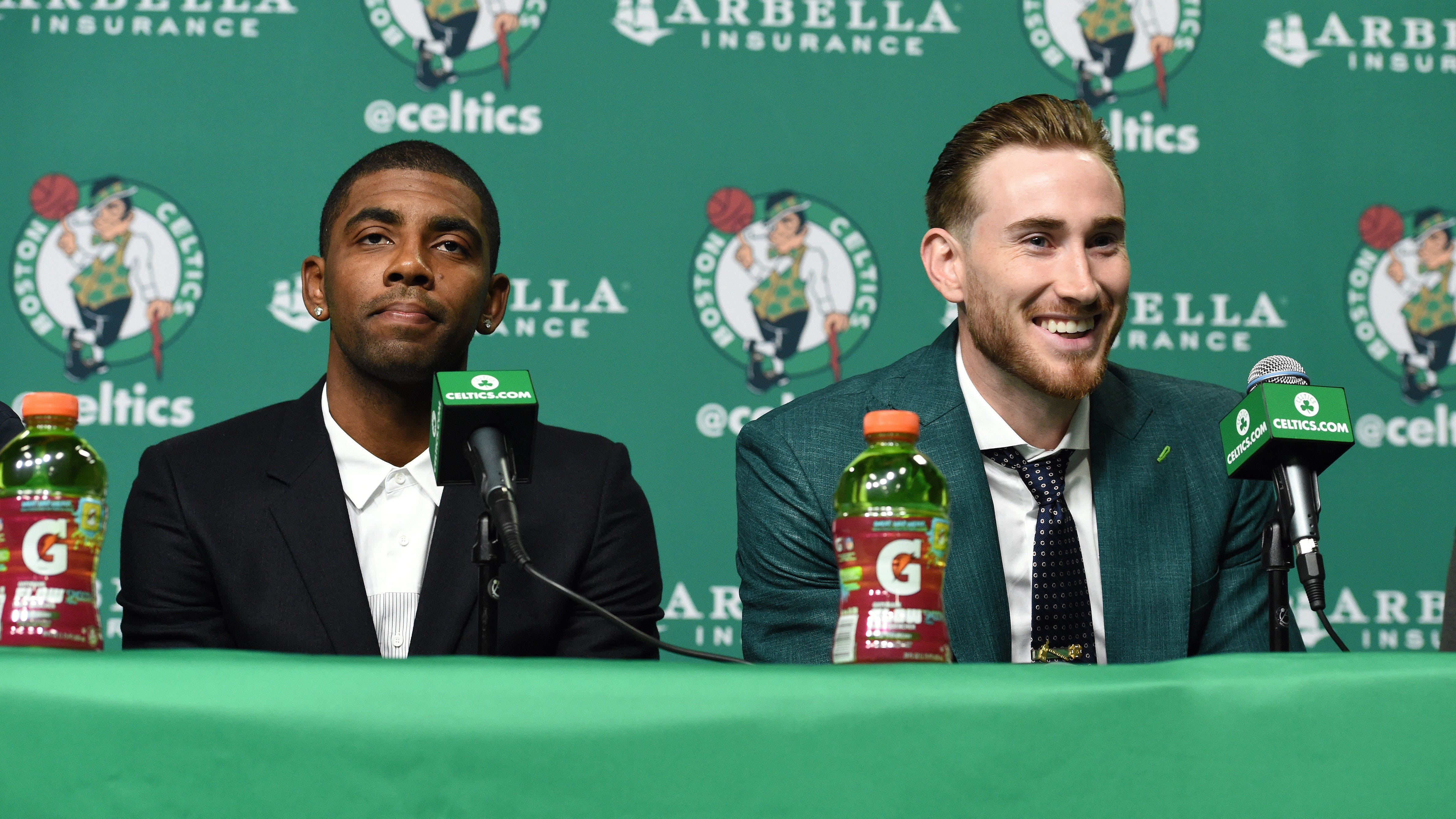 When the Celtics introduced Kyrie Irving (left) and Gordon Hayward before the 2017-18 season, they were expected to return the Celtics to their glory days. But injuries to both Hayward and Irving, as well as other factors, helped to derail those expectations.