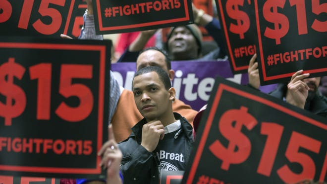Supporters of a $15 minimum wage for all rally in Albany in March.