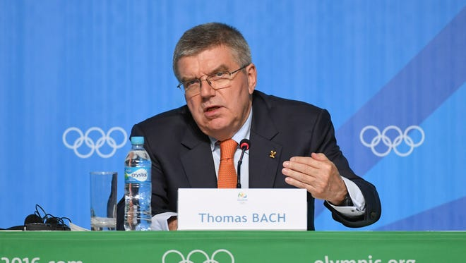 IOC president Thomas Bach speaks during his press conference at the Main Press Center on Aug. 4.