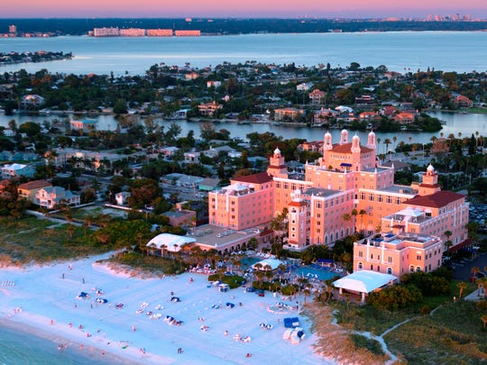 An aerial view of the Loews Don CeSar Hotel in St. Pete Beach.