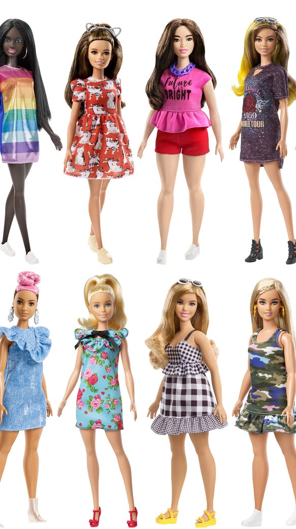 The newest line of Fashionista Barbies have a variety of ethnic features and hair texture.