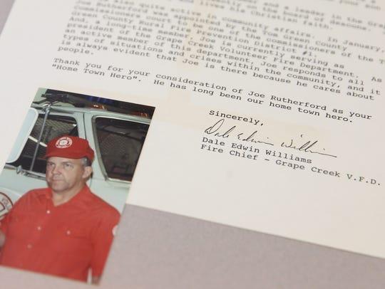 Grape Creek Volunteer Fire Department Captain Joe Rutherford,