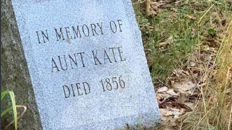 "The gravestone for ""Aunt Kate"" in the Davis family's cemetery, now part of the Audubon Society's Davis Memorial Wildlife Refuge in North Kingstown."
