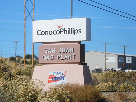 A sign for ConocoPhillps' San Juan Gas Plant is pictured on Monday in Bloomfield.