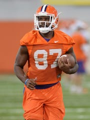 D.J. Greenlee (87), pictured during practice in 2015, hasn't played much in his Clemson career could be called upon in 2017.