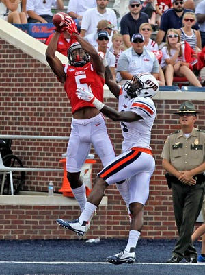 Wide receiver DaMarkus Lodge catches a touchdown in Ole Miss' season opener last year against UT-Martin. Lodge is hoping to have a bigger impact this season.