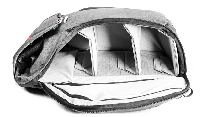 The Peak Design Everyday Backpack features several compartments for easy storage and access to your camera accessories.