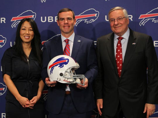 Buffalo Bills owners Kim and Terry Pegula welcome new General Manager Brandon Beane.