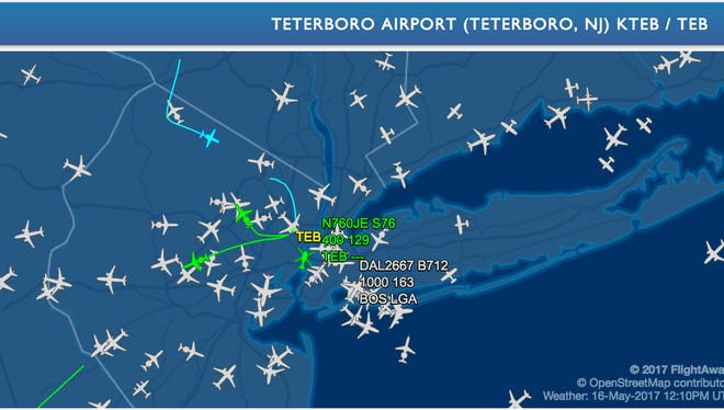 Planes in the air over North Jersey and New York City at about 8:15 a.m. Tuesday