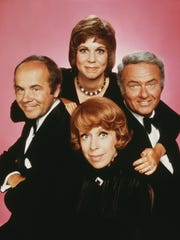 'The Carol Burnett Show' cast featured Burnett, front center, and, left to right, Tim Conway, Vicki Lawrence and Harvey Korman.