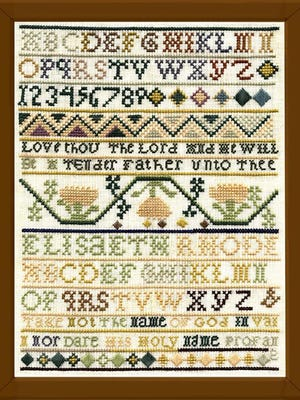 Artwork from the sampler exhibit at The Rhode Island Historical Society, April 2001.