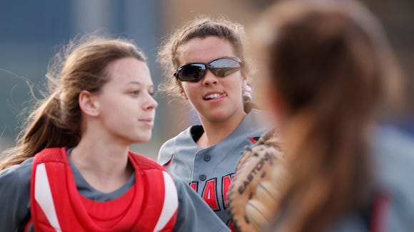 Harrison hosts Twin Lakes in softball Monday, April 17, 2017, in West Lafayette. The Raiders pounded the Indians 12-0 in five innings.