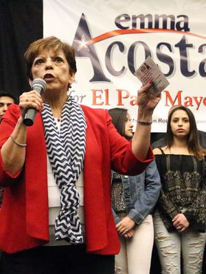 City Rep. Emma Acosta is joined by family members as she announces her candidacy for mayor of El Paso on Tuesday at the Best Western Plus Airport Hotel and Conference Center at 6655 Gateway Blvd. West. Among the issues she addressed were street improvements, better job opportunities and supporting public safety.