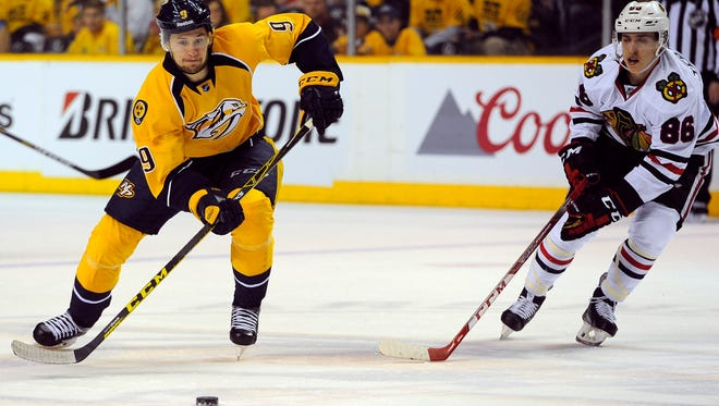 Predators center Filip Forsberg (9) is one of five Nashville players who made his NHL playoff debut Wednesday.