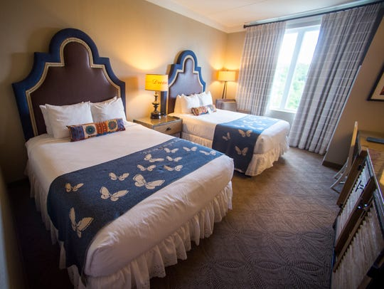 A double queen room at Dollywood's DreamMore Resort