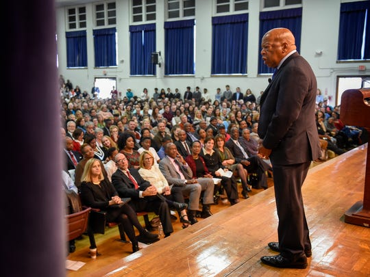 2016: Congressman John Lewis addresses a crowd of hundreds to talk about his life, activism and what we can do in society today on Sat. Nov. 18, 2016, at the Martin Luther King Jr. Magnet School in Nashville, Tenn.