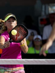 Gigi LeMaster returns the ball during the mixed doubles pro final during the U.S. Pickleball Championships hosted at East Naples Community Park Saturday, April 30, 2016 in Naples, Fla. (Luke Franke/Staff)