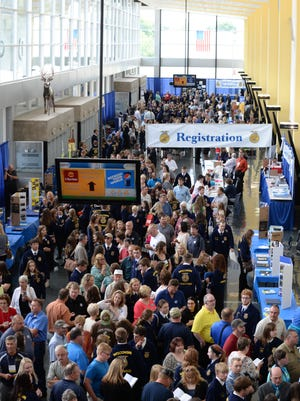 FFA members from across Wisconsin pour into the Exhibition Hall at the Alliant Energy Center.