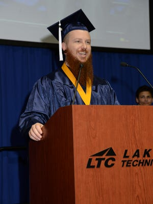 Manitowoc's Taylor Harlin speaks at the Lakeshore Technical College winter commencement ceremony Dec. 16 in Cleveland, Wisconsin.