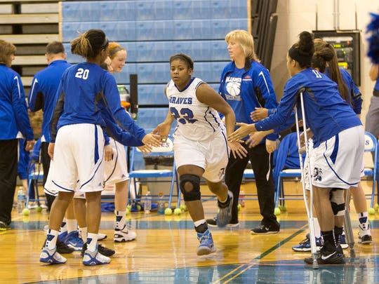 Williamstown's Taylor Bynoe (No. 22) is introduced before a recent game. The standout is averaging a team-high 19.1 points and 8 boards this season.