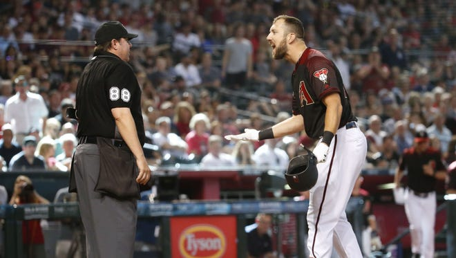 Arizona Diamondbacks right fielder Steven Souza Jr. (28) is ejected after striking out and throwing his bat during the eighth inning of a MLB game against the Washington Nationals at Chase Field in Phoenix, Az., on May 12, 2018.