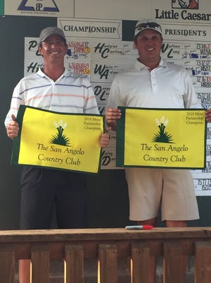 Colton Willliams (left) and John Duke Hudson celebrate after winning the Championship Flight of the 59th San Angelo Country Club Men's Partnership on Sunday, June 24, 2018. This is the fourth SACC title in the last six years for Hudson. Williams is a former Presidents Championship winner.