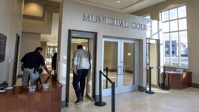 The secure front entrance of the new Montgomery Municipal Court Building in Montgomery, Ala. on Wednesday December 21, 2016.