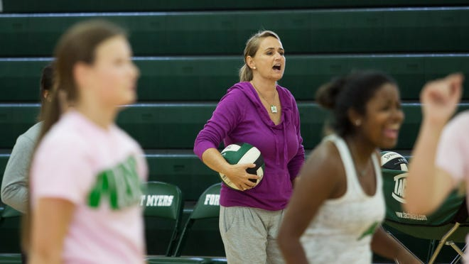 Stephanie Martin is in her 20th season as coach of the Fort Myers High School volleyball team. Her team is off to a 5-2 start this season and faces a busy schedule this week. Her goal is to win an elusive state title.