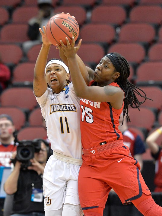 Marquette guard Allazia Blockton (11) battles Dayton guard Tiaera Phillips (15) for a rebound during the second half of a first-round game in the NCAA women's college basketball tournament in Louisville, Ky., Friday, March 16, 2018. (AP Photo/Timothy D. Easley)