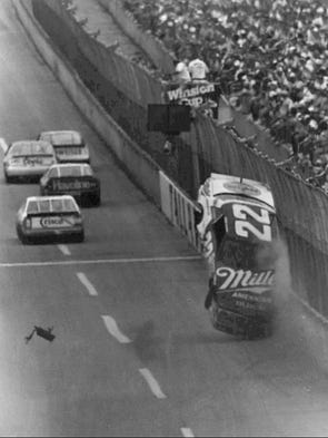 Bobby Allison's car becomes airborne during a wreck
