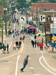 Busy Sevier Avenue becomes a pedestrian walkway bordered