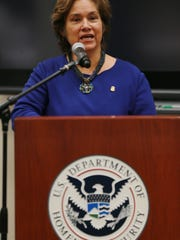 U.S. Immigration and Customs Enforcement Director Sarah Saldaña speaks Tuesday at a ceremony where U.S. and Mexican officials signed Local Repatriation Arrangements in El Paso.