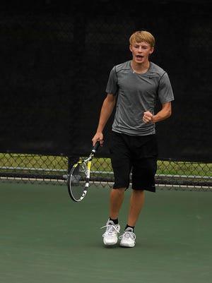 Jim Ned's Reese Cook celebrates after winning a point during his win over Brock's Clayton Boles in the Class 3A boys singles state championship match at the UIL State Tennis Championships on Tuesday, May 17, 2016, at the Mitchell Tennis Center in College Station.