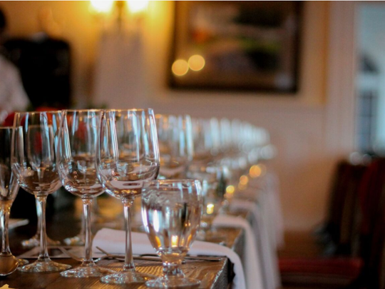 Wine glasses for a pairing at the Stanley Hotel in Estes Park.