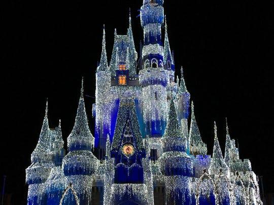 So pretty! Shown is the Magic Kingdom's Disney castle at night.