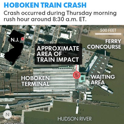 Train personel survey the NJ Transit train that crashed in to the platform at the Hoboken Terminal Sept. 29, 2016, in Hoboken, New Jersey.