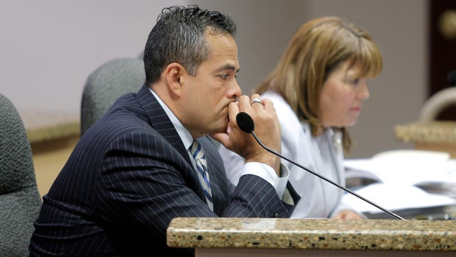 El Paso City Manager Tommy Gonzalez listens to a discussion during a City Council meeting.