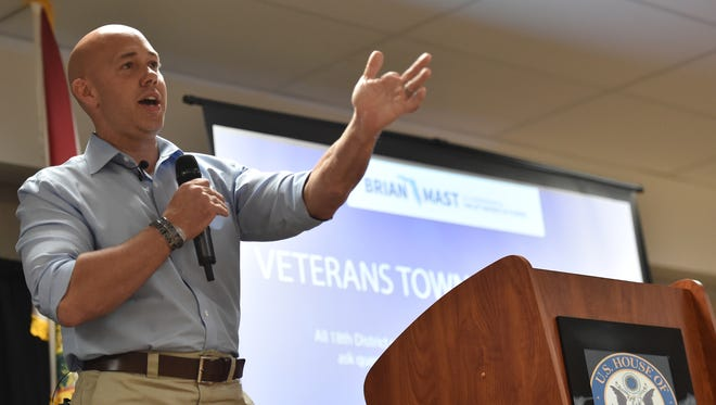 U.S. Rep. Brian Mast hosts a veterans town hall meeting to address veterans issues on Friday, Feb. 24, 2017, at the Havert Fenn Center in Fort Pierce. Mast was one of 15 Florida Republicans to vote for the American Health Care Act on Thursday, May 4, 2017.