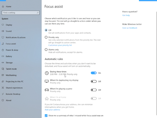 Windows 10's update adds a 'Focus Assist' option, where