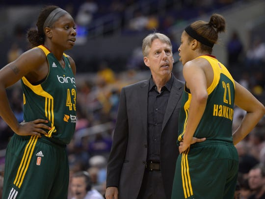 Elgin's Brian Agler has had a successful career coaching women's professional basketball, including as coach of the WNBA's Seattle Storm in this file photo.