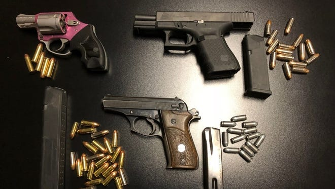 Porterville detectives searched a vehicle and found three loaded firearms, one was reported stolen, and a high-capacity ammunition magazine.