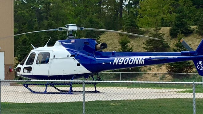 The replacement Airbus Helicopter from Air Methods on the landing pad at Howard Young Medical Center in Woodruff.
