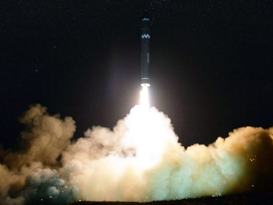 """In this image provided on Thursday, Nov. 30, 2017, by the North Korean government, what the North Korean government calls the Hwasong-15, a """"significantly more"""" powerful, nuclear-capable intercontinental ballistic missile, is launched in North Korea on Wednesday, Nov. 29. Independent journalists were not given access to cover the event depicted in this image distributed by the North Korean government. The content of this image is as provided and cannot be independently verified."""