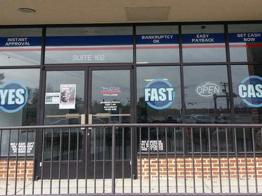 Title loan storefront.