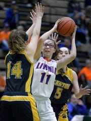 Livonia's Morgan Hyde, center, is defended by Canton's Natalie DiSalvo, left, and Mikaela Bessette.