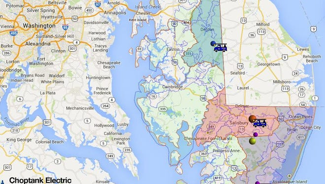 Close to 1,000 members of Choptank Electric Cooperative were without power early Saturday evening, as indicated in this outage map.