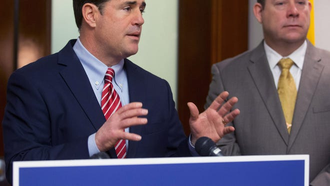 Gov. Doug Ducey talks about his budget before it's release at the Executive Tower in Phoenix on January 16, 2015.