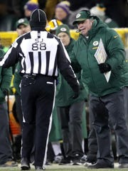 Green Bay Packers coach Mike McCarthy argues a personal foul call in the fourth quarter against the Minnesota Vikings on Saturday, Dec. 23, 2017, at Lambeau Field.