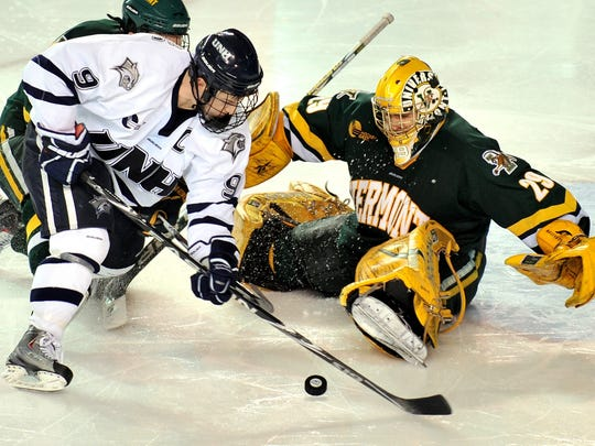 In this March 2010 file photo, goaltender Rob Madore helped the Catamounts slay UNH with a pair of 1-0 shutout wins.