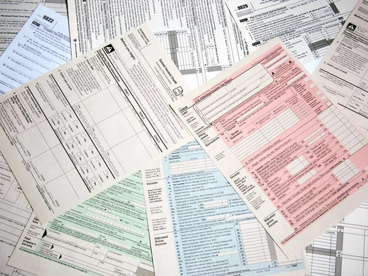 Array of income tax forms from the IRS
